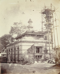 Rear view of Muhafiz Khan's Mosque from the south-east, during restoration, Ahmadabad